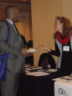 Katt Lissard talks with another conference participant